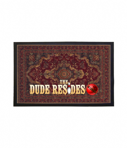Faux Persian Rug Welcome Mat Doormat - The Dude Resides Based on The Big Lebowski